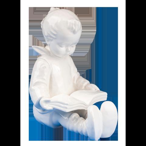 Hum 14/A - Bücherwurm Junge, weiße Überglasur