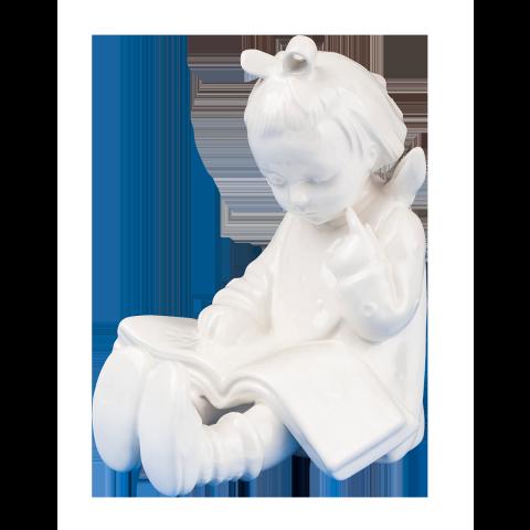 Hum 14/B - Bücherwurm Mädchen, weiße Überglasur